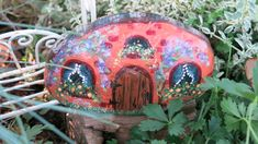 Painted rock fairy garden cottage minature house by MyPaintedSwan