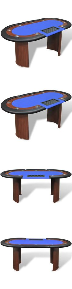 Card Tables and Tabletops 166572: Vidaxl 10-Player Poker Casino Card Game Table W Dealer Area And Chip Tray Blue -> BUY IT NOW ONLY: $215.99 on eBay!