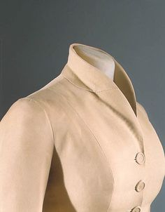 "The Metropolitan Museum of Art - ""Bar Suit"" House of Dior (French, founded 1947) Designer: Christian Dior (French, Granville 1905–1957 Montecatini) Date: spring/summer 1947 Culture: French Medium: silk. Detail"