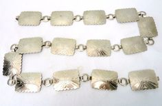 Vintage Silver Tone Metal Concho Chain Link Belt Tooled Squares Native Indian | eBay