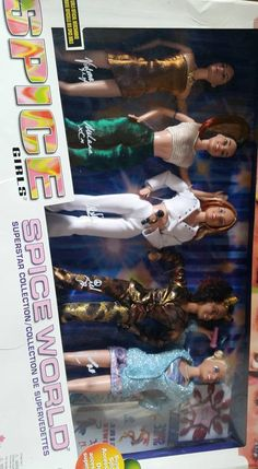 box set of the spice girls ,spice world all 5 dolls Spice Girls Dolls, Girl Dolls, Viva Forever, Spice Things Up, Spices, Baseball Cards, World, Box, Poster