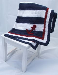 Crochet Nautical Baby Blanket Patriotic by SweetlyStitchedbyKW, $50.00