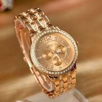 7d49a92cd820b Relógio Feminino Dourado Rose Geneva Luxury (importado) Relogio Feminino  Couro, Vestido Brilhante,