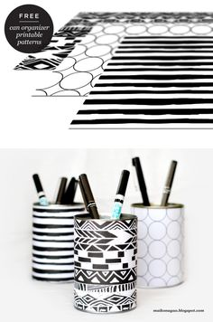 DIY: Organizer cans & free printable wrappers by Maiko Nagao