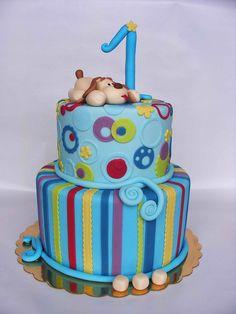 1st birthday doggie cake