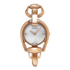 Gucci Women's YA139508 'Horse bit' Diamond Dial Rose Goldtone Bangle Swiss Quartz Watch