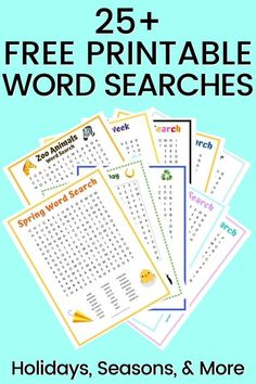 25+ FREE Printable Word Searches