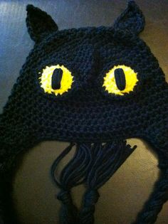 Black Cat Crochet Halloween Hat - Custom Crochet Halloween Hat - Halloween Crochet Hat. $11.00, via Etsy.