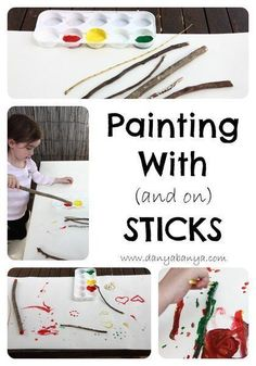 With (and on) Sticks Toddler friendly art idea - using nature as art materials.Toddler friendly art idea - using nature as art materials. Naidoc Week Activities, Preschool Art Activities, Nursery Activities, Earth Day Activities, Nature Activities, Infant Activities, Nursery Crafts, Camping Activities, Therapy Activities