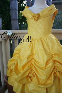 Pixie Dust Princess Belle Elegant Yellow Ball Gown Dress for