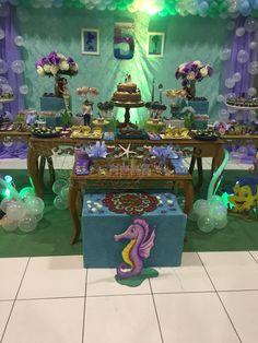 Decoração festa pequena sereia. Aniversário 5 anos menina. Sereia. Ariel.