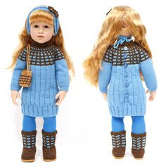 "cataddict's coordinating dress FREEBIE pattern: BLUE AND BROWN TURTLE NECK SWEATER DRESS which fits 18"" and 19"" dolls such a AG, Gotz and other similar dolls - http://www.ravelry.com/projects/cataddict/coordinating-dress-freebie-pattern"