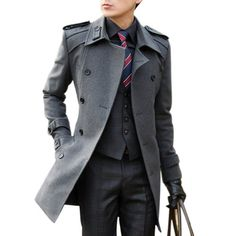 Hee Grand Men's Double Breasted Wool Overcoat With Belt Chinese M Gray