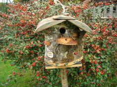 """Nichoir à Oiseaux, Mésanges """"Bébés à Bord"""" Cabane à Oiseaux des Jardins, bird house, Utile et Décoratif, Cadeau de Noël"""