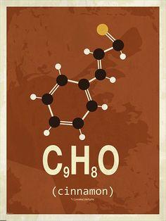 Cinnamon molecule poster