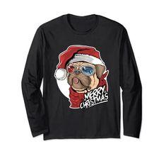Merry Christmas Cute Pug Dog Wearing A Santa Hat Long Sleeve T-Shirt Christmas Dog Pug Christmas, Merry Christmas Funny, Christmas Shirts, Long Sleeve Tee Shirts, T Shirt, Vintage Humor, Funny Vintage, Cute Pugs, Dog Wear