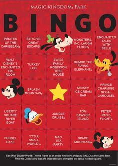 Magic Kingdom BINGO card