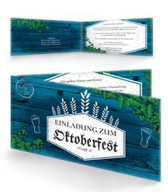 Einladungskarte mit Falz Seite mit vorgefertigten Oktoberfest Vorlagen. #einladungoktoberfest #oktoberfesteinladungskarte #oktoberfest