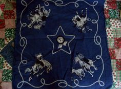 Western Rodeo Blue Vintage Bandana RN 13962 First Place by kd15 on Etsy
