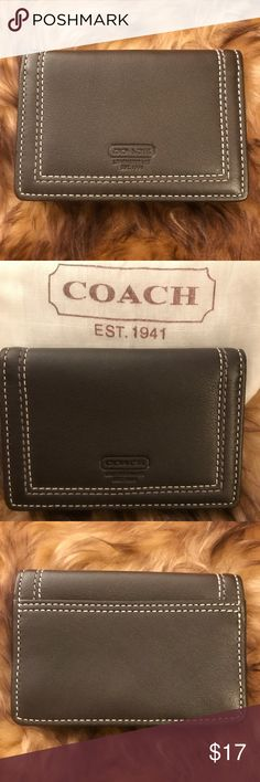 Coach ID Card Holder Coach ID and card holder Nice stitch detail Snap closure Open pocket opposite ID holder (see last picture) Back slot pocket New without tag - Never used Coach Accessories Key & Card Holders