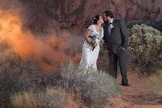 Congrats Michelle & Justin! #valleyoffirewedding #destinationwedding #smokebomb #NikonNoFilter #lasvegaswedding #desertwedding #photographer