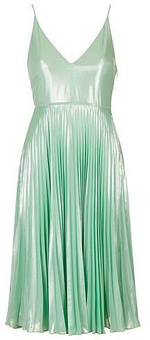 Womens mint plunge pleated midi dress from Topshop - £85 at ClothingByColour.com