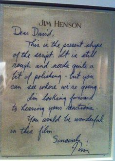 Jim Henson's letter to David Bowie regarding the script for Labyrinth. #labyrinth