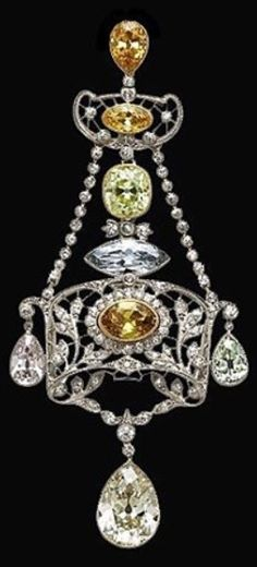 A Belle Epoque Fancy Multi-Coloured Diamond Pendant, Circa 1910. #BelleÉpoque #pendant
