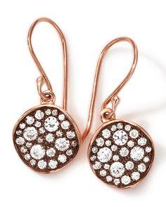 Ippolita 18k Rose Gold Stardust Flower Mini Diamond Drop Earrings