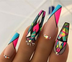 Best Acrylic Nails, Acrylic Nail Designs, Nail Art Designs, Nails Design, Design Art, Nail Swag, Hair And Nails, My Nails, Fire Nails