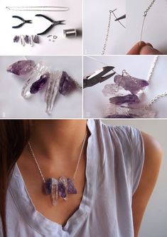 ".:* L - DIY Chanel Inspired Raw Crystal Necklace [""You will need: 16 inches of chain; 5 raw crystal or amethyst beds; 2 jump rings; clasp; 6 inches of 24 gauge wire""]"