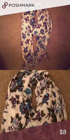 Urban outfitters floral scarf Urban outfitters purple/blue/green floral scarf. Fringe at both ends. 4' long. Very soft. No evidence of wear, looks brand new. Urban Outfitters Accessories Scarves & Wraps