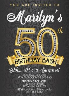 Surprise Birthday Party Invitations, Birthday Invitations, Birthday Bash Invites Diamond Birthday Invitation Adult by AnnounceItFavors Birthday Flyer, Moms 50th Birthday, Adult Birthday Party, Free Birthday, Vintage Birthday, Birthday Ideas, 50th Anniversary Invitations, Birthday Party Invitation Wording, 50 Anniversary