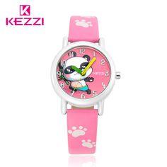 KEZZI Fashion Brand Kid Watches Girl Leather Strap Watch Boy Student Wristwatch Casual Cartoon Lovely Watch children Clock Reloj