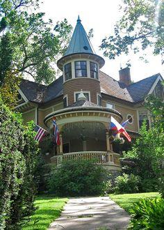Victorian house with round tower and veranda, Decorah, Iowa