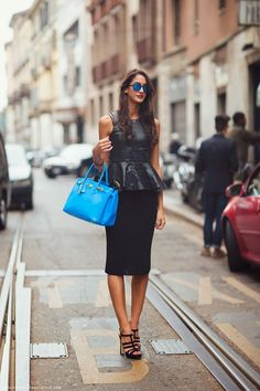 love peplum shirts and bold bags!!