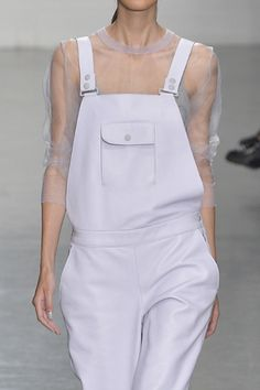 Lilac leather dungarees + sheer t-shirt; pastel fashion details // Richard Nicoll S/S 2015
