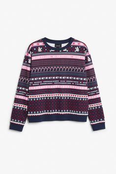 <p>Looking for that perfect soft 'n' comfy hey-ho-candy-cane print sweater? Well, the search is over.<br /><br />In a size small the chest width is 11