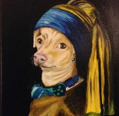 """Now that's art! In fact, I would go so far as to say it's a masterpiece! incredible of """"The Tuna with the Pearl Earring"""". Chihuahua Toy, Tuna Dog, Dog Names, Some Pictures, Art Google, Graphic Illustration, Dog Training, Pugs, The Incredibles"""