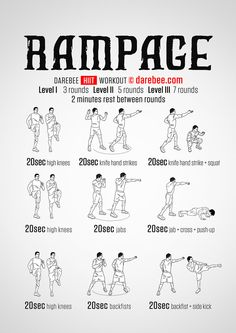 Rampage Workout - Rampage workout pushes your body through every boundary, commandeering every major muscle group in the body, to do it. This is a fast, furious, high-burn workout designed to make you enter the sweat zone fast. It is in its demand to maintain output however that the real challenge lies.