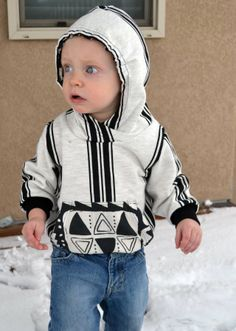 Check out the pattern/instructions for this cool, crossover neckline hoodie for boys, from Feather's Flights.