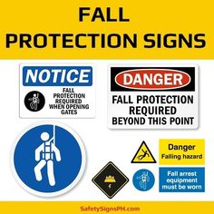 Falls that occur on a construction site can result in a fatality. To prevent such an accident from happening,. Construction Safety, Safety Posters, Philippines, Signs, Fall, Autumn, Fall Season, Shop Signs, Sign
