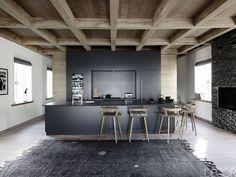 no upper cabinet kitchens - open contemporary loft style kitchen . Home Inspiration inspire me home decor Grey Kitchens, Luxury Kitchens, Yellow Kitchens, Loft Stil, Upper Cabinets, Cuisines Design, Küchen Design, Design Trends, Interior Design