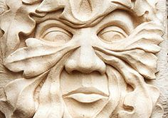 The Green Man Stone Carving in Relief - practice trompeloi painting