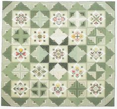 "Harukaze ni Notte (Ride the Spring Breeze) From ""Honoring the Seasons: Quilts from Japan's Quilt House Yama"" by Takako Onoyama - Finished size 75"" x 75"", log cabin blocks 6 1/4""x 6 1/4"", flower blocks 7""x 7"""