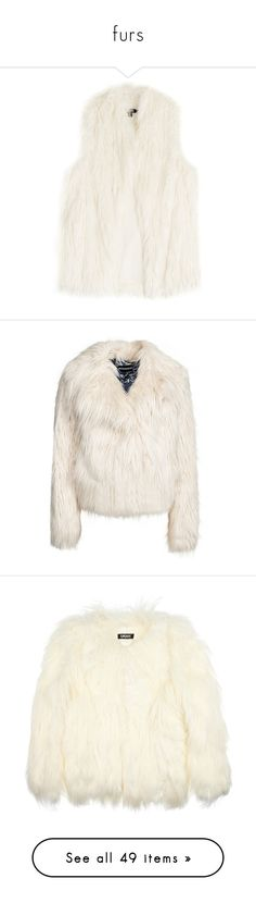 """""""furs"""" by evenaka on Polyvore featuring outerwear, vests, vest, jackets, coats, coats & jackets, white, dkny, faux fur vests and slim fit vest"""