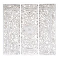 Triptychon ANDAMAN aus Holz, 150 x 150cm, weiß