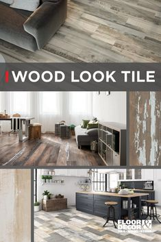 Wood-look tile is more versatile than ever before. Replace your wallpaper with wood planks or get the look of wood in bathrooms and high traffic areas with water resistant wood looks. Explore more wood-look tile in our Inspiration Catalog on page 6. Floor & Decor