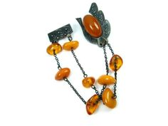 Vintage-Soviet-Lovely-Brooch-Natural-Genuine-Baltic-Amber-1960s-Silver-875