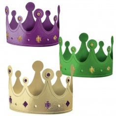 Be crowned as the Mardi Gras party king of all with our Mardi Gras Glitter Crowns These x crowns are made with green yellow and purple foil with glitter accents One size fits most These crowns contain 12 crowns per package and make a perfect party Ben E Holly, Kings Day, Paper Crowns, Three Wise Men, Mardi Gras Party, Sunday School Crafts, Kids Church, Epiphany, Party Hats